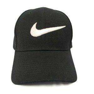 Nike Black Large Swoosh Logo Strapback Hat Cap